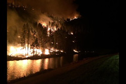 The 2016 Storm Hill Fire burning near Mitchell Lake in the Black Hills, South Dakota.