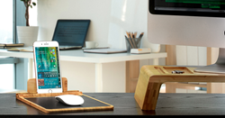 Bamboo mouse pad with Smartphone/Tablet stand by Prosumer's Choice