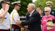 William J. Vakos, Jr. and his wife Mary greet officers of the Cadet Corps this past May