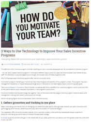 Use Technology to Improve Sales Incentive Programs
