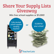 TeacherLists Announces 'Share Your Supply List' Giveaway