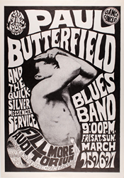 Family Dog FD-3 Paul Butterfield Blues Band Fillmore Auditorium 3/25/66 Concert poster