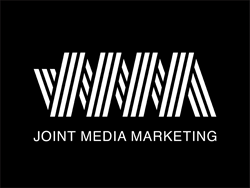 White stripes logo on black background for Joint Media Marketing agency