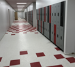 The Duralife lockers offer a space saving design and fun color scheme that matches the Memphis Rise Academy's colors.