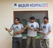 Wildlife SOS staff members pose with a large python they removed from an India Air Force flight earlier in the day.