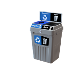 Flex E recycling bin with backboard graphics 2-stream