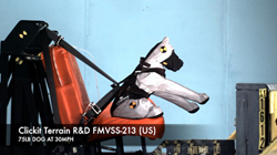 Clickit Terrain dog safety harness crash tested at FMVSS No. 213 (U.S.)