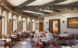 Couples seated in interior of breakfast, lunch, brunch cafe river vine cafe vintners inn santa rosa sonoma wine country