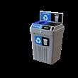Flex E recycling bin with backboard graphics 2-stream