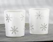 Sparkling Snowflake Glass Tea Light Holder