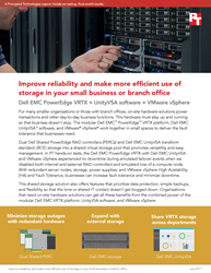 Learn more about the reliability and storage efficiency that the Dell EMC PowerEdge VRTX, UnityVSA software, and VMware vSphere provided in PT testing