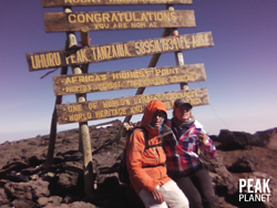 Dr. Fred Distelhorst, with his granddaughter Ellen, on the summit of Mount Kilimanjaro