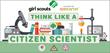 microscope, beaker, pencils, books, safety glasses, bunsen burner, girl scout logo, science
