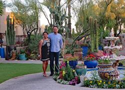 Raja and Bibi Mukherjee at the Hacienda Del Sol on a Sojourn Arizona bicycling vacation