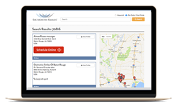 """Six Month Smile provider directory with red LocalMed """"Schedule Now"""" button"""