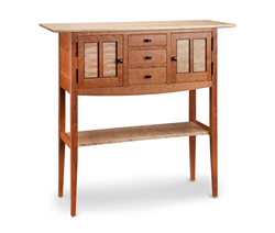 This stunning handcrafted foyer sideboard is made of solid cherry with flamed birch and wenge accents. Outstanding design with generous storage to add beauty to any room of your home. A unique piece which is one of the artist's favorites.