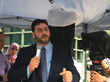Osama Abuirshaid, AMP national policy director, delivers the sermon during Friday prayers outside the Israeli embassy in Washington D.C.