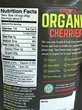 Graceland Fruit Organic Dried Cherries Nutrition Panel