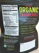 Graceland Fruit Organic Dried Cranberries Nutrition Panel