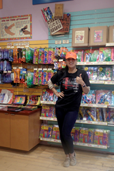 Lefty employee with hat in The Left Hand Store