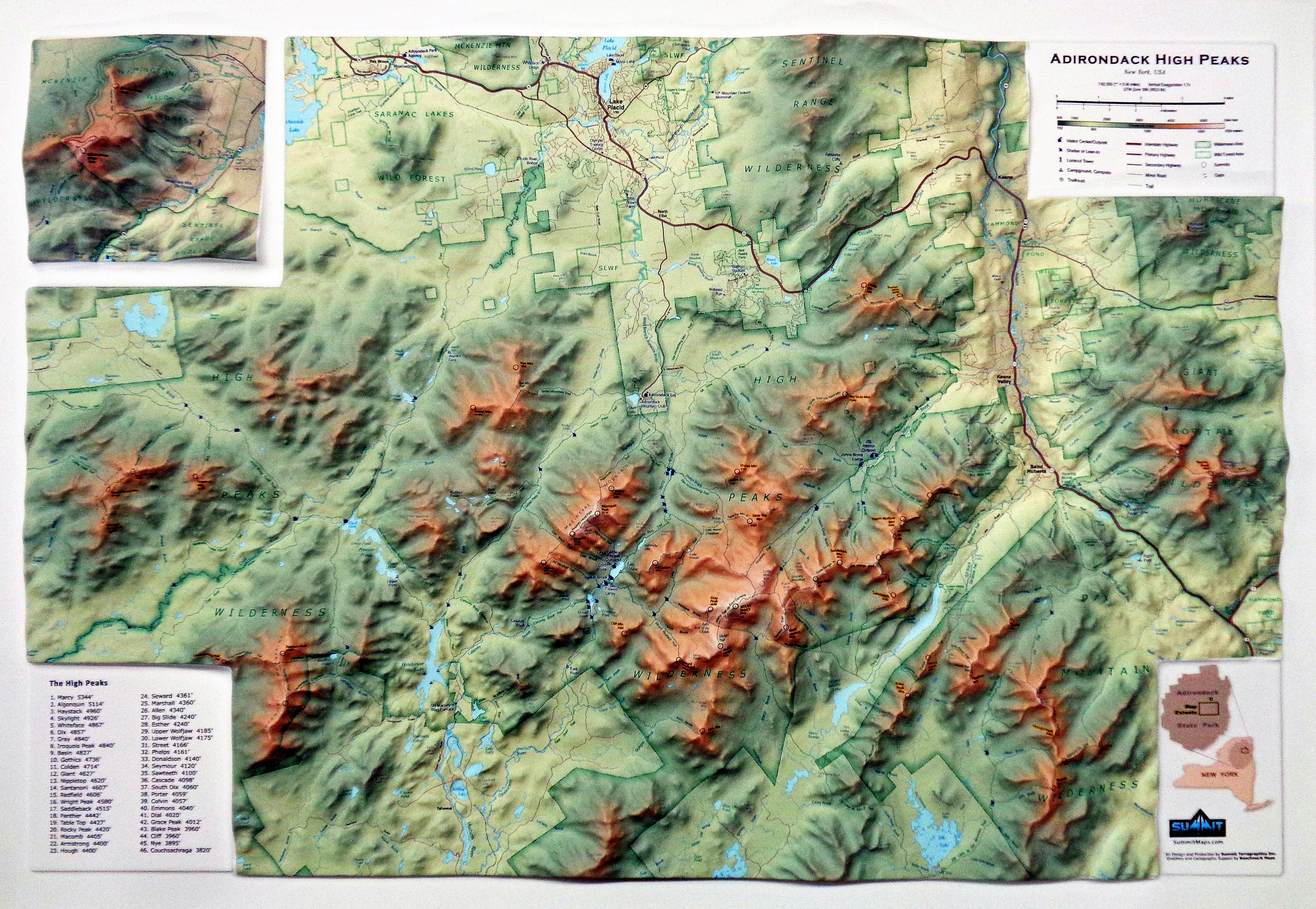 New Adirondack High Peaks Map Features the ADK 46ers in 3D