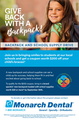 Monarch Dental Flyer for Backpack Drive