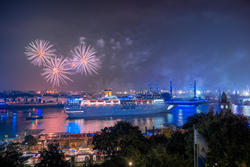 Parade of cruise liners, fireworks and Blue Port.