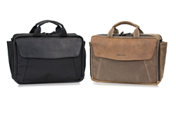 The Air Porter—black ballistic nylon with black leather; tan waxed canvas with grizzly leather