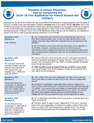 Tip sheets for college students applying for financial aid.