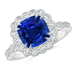 Sapphire Scalloped Cocktail Halo Ring