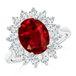 Ruby and Diamond Cocktail Halo Ring