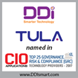 "TULA recognized by CIO Applications magazine as ""Top 25 Governance, Risk & Compliance (GRC) Technology Providers - 2017"""