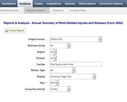 IndustrySafe Safety Management Software's OSHA 300A CSV File Generator