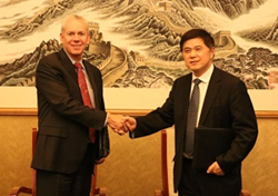 Mr. Kevan Lawlor, President and CEO of NSF International meets with Mr. Xu Wenhai, Chairman of DYT