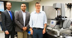 Dr. Michael Solomon (right) and Anton Paar's Dr. Abhishek Shetty (center) and Dr. Norbert Ponweiser (left) with the newly installed TwinDrive™ MCR 702