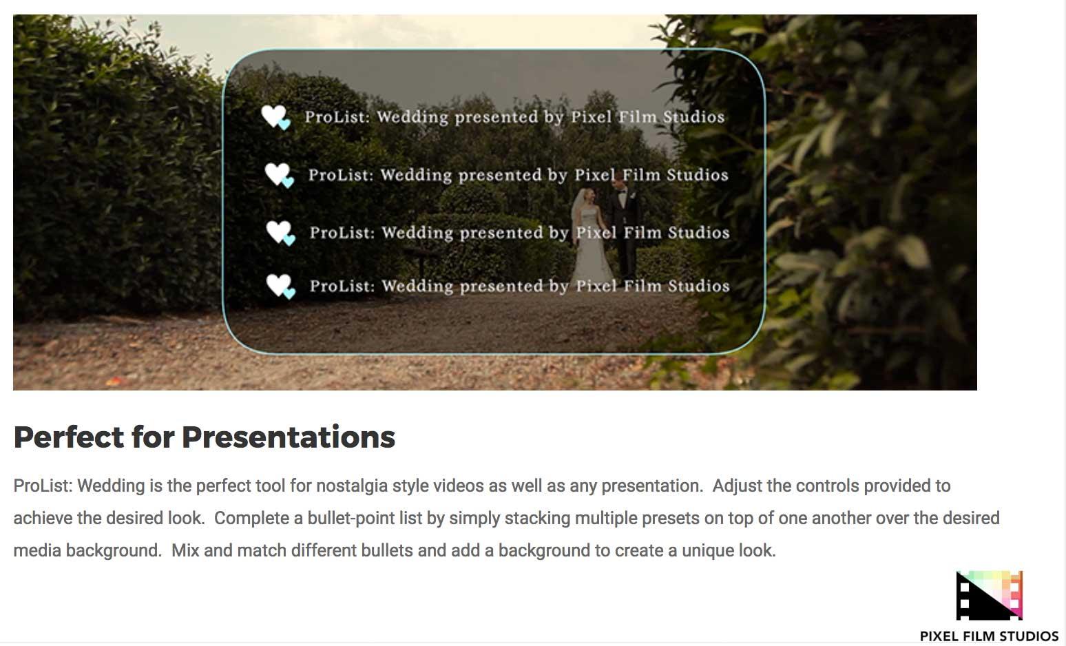 pixel film studios releases prolist wedding for fcpx