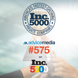 Advice Media achieves ranking of #575 on Inc. 5000 for 2017