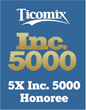 For the 5th Consecutive Year, Ticomix Appears on the Inc. 5000 List, Ranking #3754 with 3-Year Sales Growth of 79%