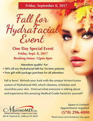 Discount on HydraFacial MD at MilfordMD's Fall for HydraFacial event.