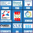 "Meme with a tic-tac-toe-like square of eight Jewish non-profit organizations with the text in each box saying ""Thank you for supporting Jewish students on campus,"" with the middle square saying ""not you"" in red text over an anti-Israel organization."