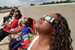 Viewing the solar eclipse from the top of the parking garage at The Children's Museum of Indianapolis.