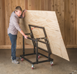 The Rockler Material Mate Panel Cart/Shop Stand lets you easily roll 4' x 8' sheets from your truck or lumber rack to your table saw.