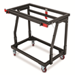 To use Material Mate in shop stand mode, users can simply attach their own tabletop to the metal frame and lock it in the horizontal position.