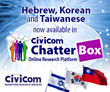 Hebrew, Taiwanese, Korean Languages Now Available in Civicom Chatterbox® Online Research Platform
