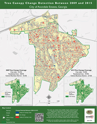 Tree Canopy Map of Avondale Estates, Georgia