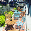 Parklets were added to downtown Millburn destinations as a spot for pedestrians to gather and relax.