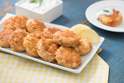 Salmon Cakes with Yogurt & Cucumber Sauce from Seafood Nutrition Partnership