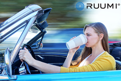 Ruumi travel cup gets a ride on a '65 Mustang convertible