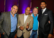 Jalen Rose poses with John Diggins and Ed Joubran, Platinum Equity and Dennis Archer Jr., JRLA Board Member at The Jalen Rose Pairings Party at MGM Grand Detroit