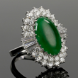 - Ladies 14k White Gold Diamond & Jade Ring